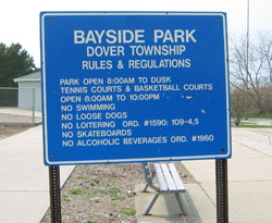 bayside park rules and regulations sign